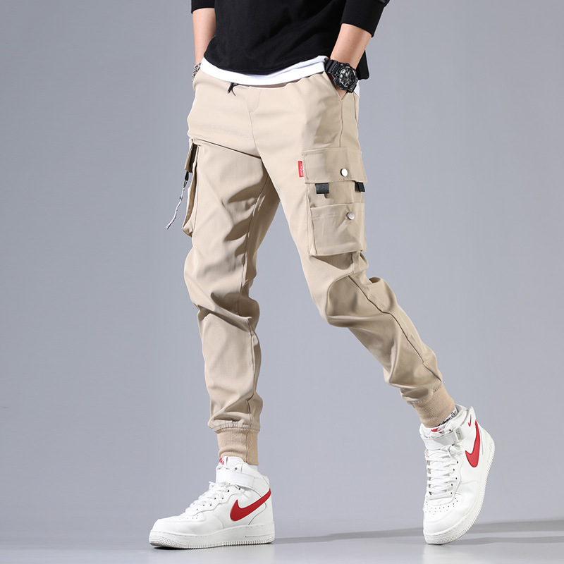 Khaki overalls mens fashion brand loose multi bag sports and leisure Leggings with drawstring and velvet