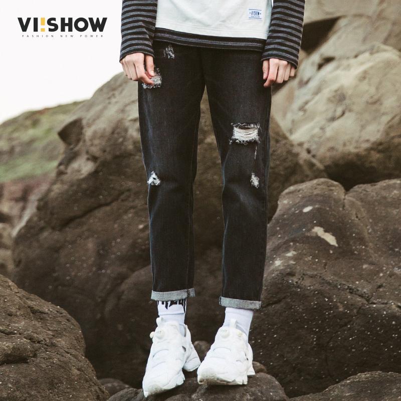 VIISHOW春装新款牛仔裤男破洞韩版男小脚裤子休闲长裤