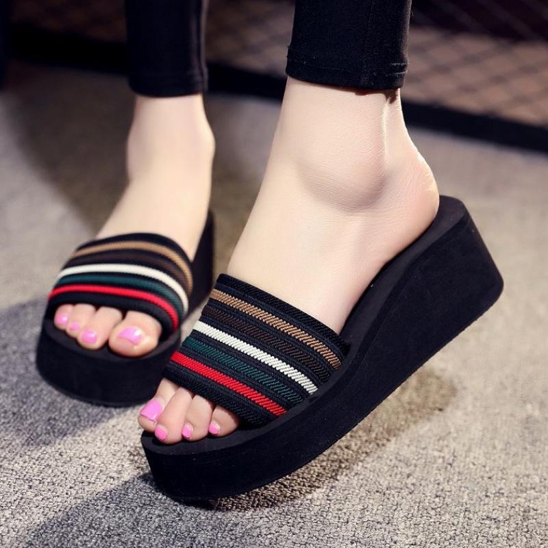 29拖鞋夏季松糕底时尚外穿一字拖韩版女生沙滩防滑高跟厚底凉拖鞋