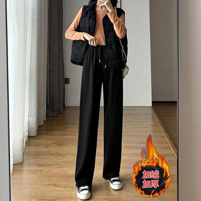 阔腿裤女加绒秋冬季黑色直筒宽松长裤
