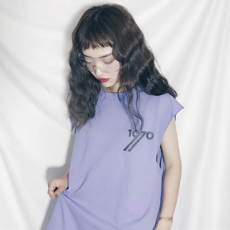 夏装女装韩版原宿风数字无袖工字背心外穿百搭宽松T恤上衣学生潮