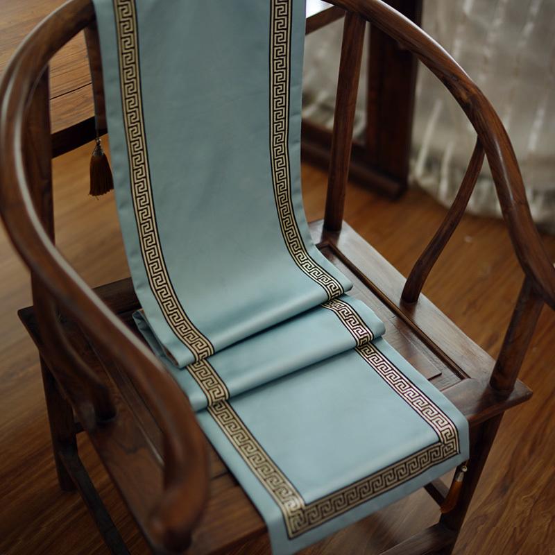 桌旗中式禅意茶席中国风茶旗蓝色回纹新中式床尾巾床旗茶几旗布