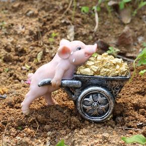 抖音同款仿真猪摆件搬砖推车拼博小猪家居装饰品励志生日礼品礼物