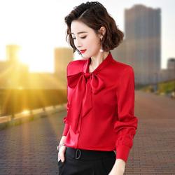 红色蝴蝶结衬衫女长袖2020秋季新款韩版洋气时尚飘带上衣打底衫寸