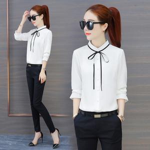 雪纺衬衫女长袖2018新款韩版宽松白色衬衫系带立领女士衬衣工作服