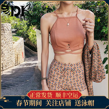 Ins2018 new swimsuit female three-piece Korean hot spring small fragrance split swimsuit small chest gathered swimsuit
