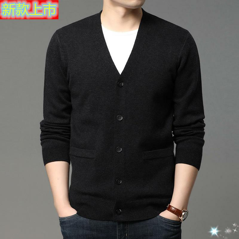 Top grade 361 autumn mens cardigan V-Neck long sleeve sweater T-shirt / sweater middle aged mans silk youth fashion circle