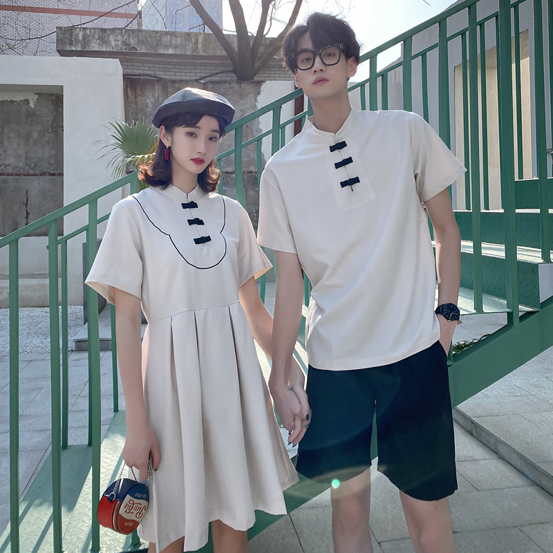 Couple dress, one skirt and one dress, temperament, summer Chinese style, improved cheongsam dress, retro style small