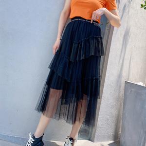 欧洲站2020夏装新款欧货层层蛋糕裙垂感网纱裙女显瘦仙女半身裙女