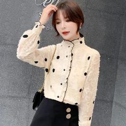 秋冬装女装2020年新款潮高领蕾丝加绒加厚打底衫长袖洋气上衣内搭