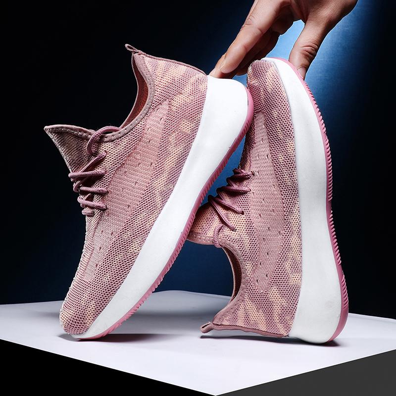 颐娉2020夏季透气真飞织男士运动鞋厚底休闲鞋男鞋子网面跑步潮鞋图片