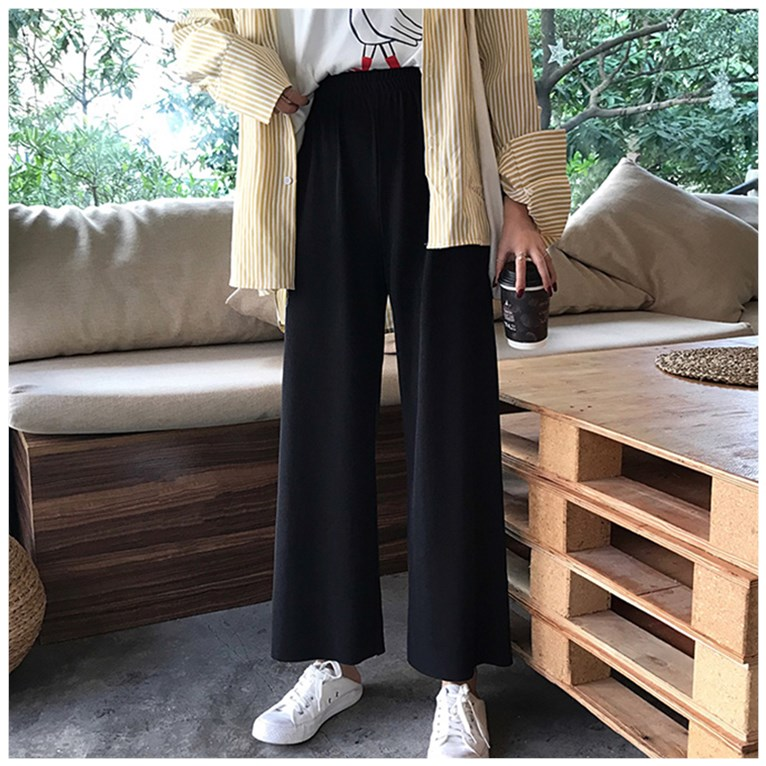 2020 spring new Korean pants show thin, loose casual pants, high waist, wide leg pants, womens drop feeling, 9-point straight pants