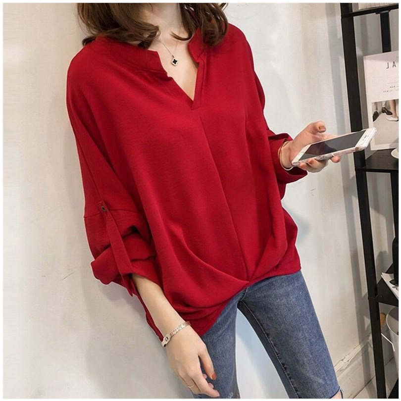 Spring shirt women 2020 new Chiffon womens shirt womens design sense small mind V-neck top summer