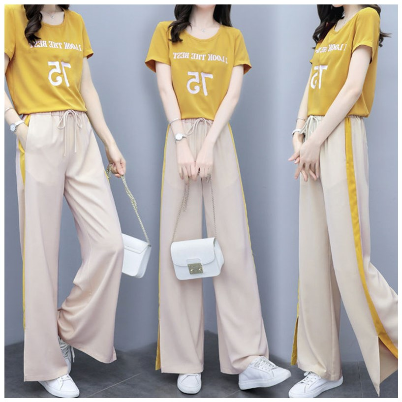 2020 summer new womens fashion wide leg pants two piece loose slim casual pants short sleeve T-shirt set for women