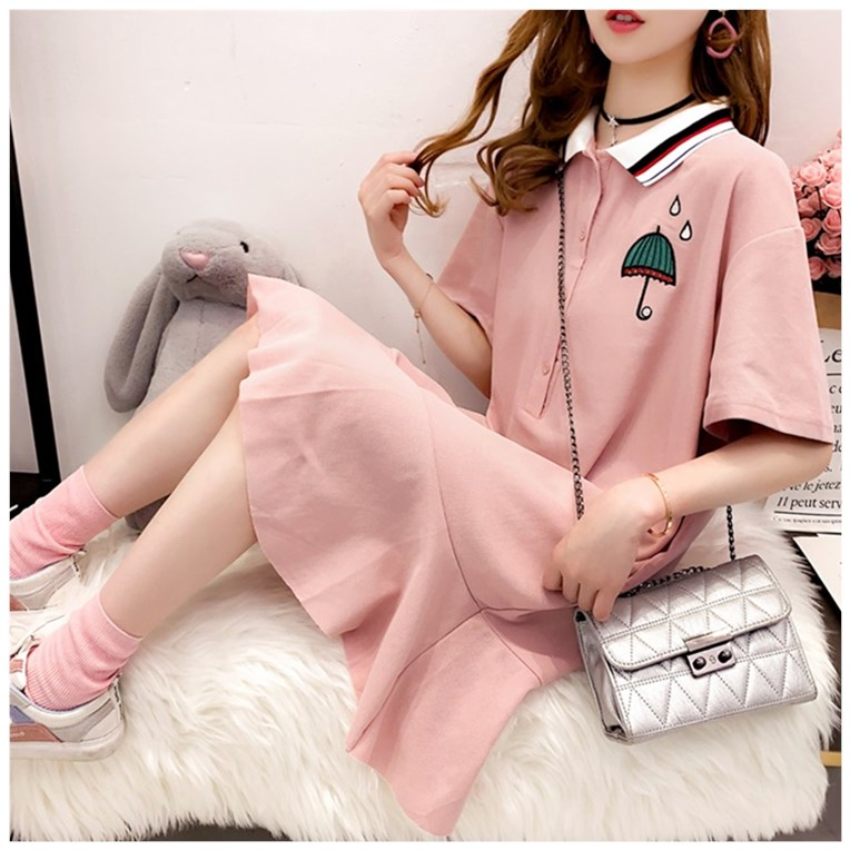 Spring 2020 new light mature polo collar dress female summer fishtail skirt fairy super immortal medium length