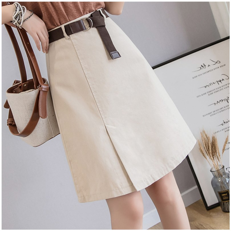 Black skirt womens spring and summer high waist wrap hip short skirt with irregular A-line for skirt with thick hip and thigh