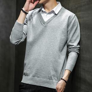衬衫领韩版假领针织衫男士潮流毛衣