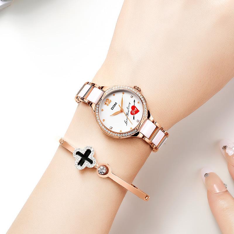 多姆手表女ins风陶瓷钢带2020新款镶钻女士时尚休闲学生腕表超薄
