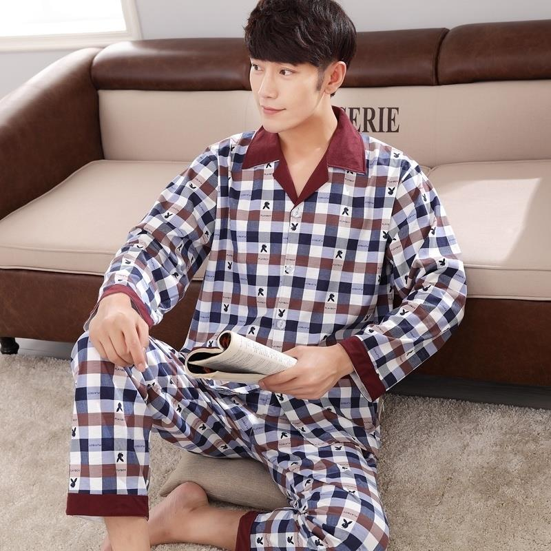 Mens pajamas mens long sleeve cotton suit summer spring and autumn home wear young mens dad 2020 NEW