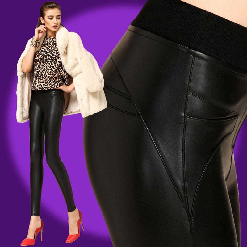 Leather pants womens 2018 new high waist autumn winter tight elastic outer wear sexy matte Plush Pu womens leather pants long