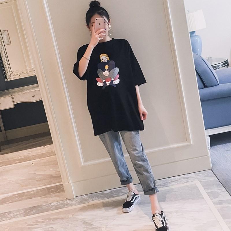 孕妇装2019夏装新款韩版圆领高清印花割破短袖宽松时尚孕妇恤潮