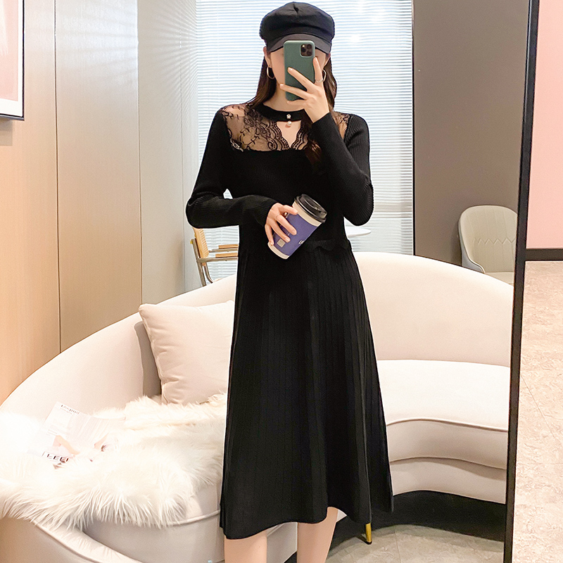 Autumn and winter one-piece skirt celebrity sexy perspective lace stitching knitted long bottom with wool dress inside