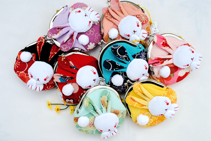 Japanese zhaoxiwu authentic foreign trade and wind cloth art rabbit lady lovely coin bag key bag cartoon Coin Purse