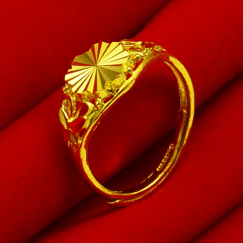 Jewelry gold ring 9999 full gold pure gold ring real gold wedding jewelry women's big flower mother's loose mouth