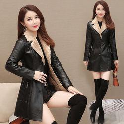 皮衣女中长款2020秋冬新款韩版女装加绒加厚pu皮风衣皮毛一体外套