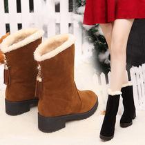 冬季中筒靴女雪地靴子10少女孩11初中生12大童13小学生15岁冬鞋子