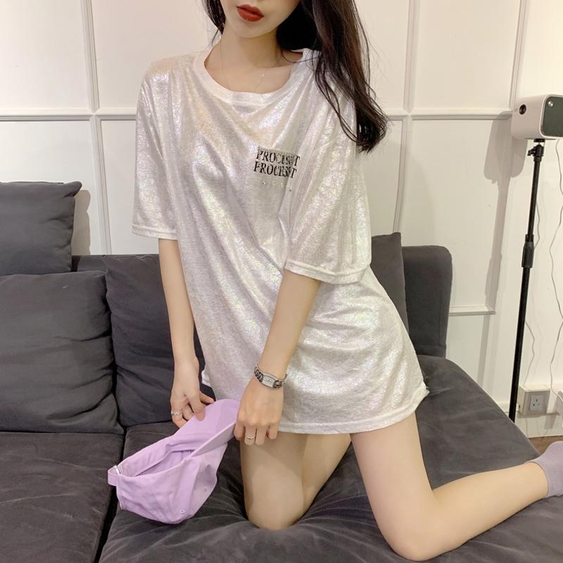 下衣失踪短袖T恤女2019夏季新款港味时尚印花字母宽松中长款上衣(非品牌)