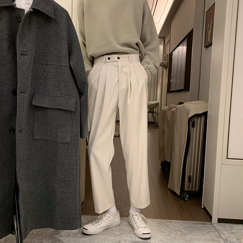 Autumn and winter sagging feeling loose retro straight pants no iron tr casual pants Korean version of three-dimensional cutting nine point trousers trend