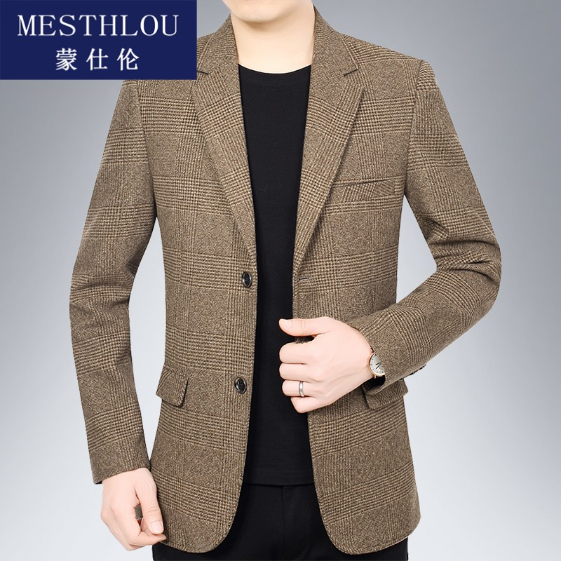 Casual suit men 2020 new middle-aged mens one piece casual Western slim spring and autumn coat jh0922