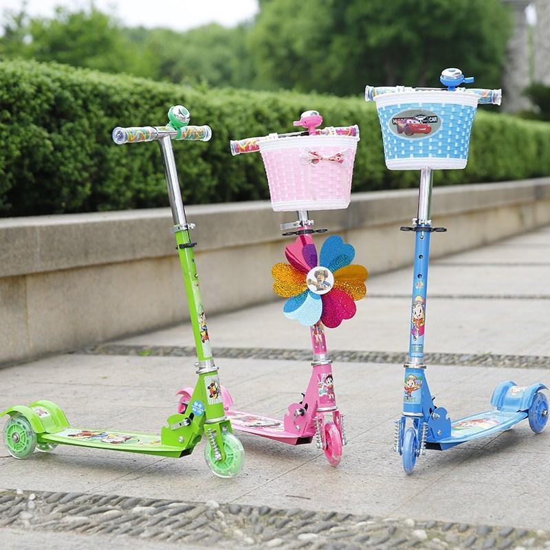 少儿带风车脚踏车宝贝儿童滑板车3轮溜溜车6-8岁通用三轮小型