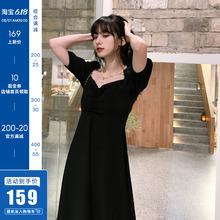原创方领赫本风小黑裙法式复古连衣裙收腰显瘦泡泡袖气质裙子女夏