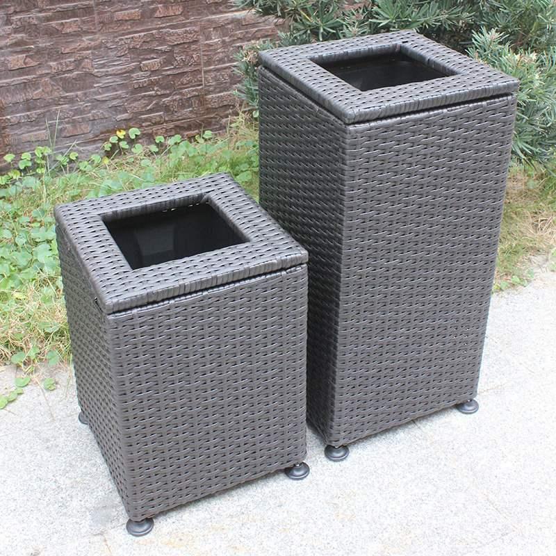 塑料藤编室外大码垃圾桶酒店大堂卫生间酒店大堂立式环卫垃圾箱筒