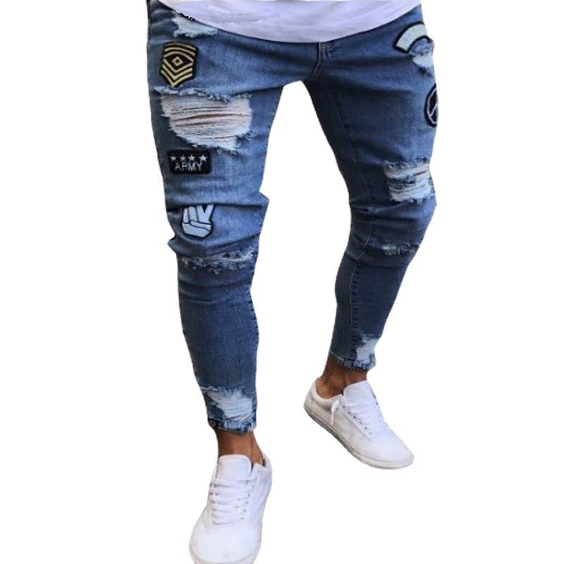 Cross border European and American badge mens jeans knee hole zipper Leggings foreign trade mens jeans pants