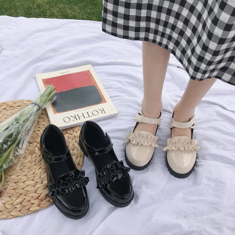 Japanese Lolita lace soft girl shoes college style low heel JK uniform small shoes round toe Lo girl shoes