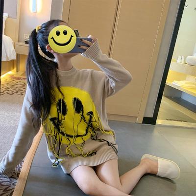 歐洲站黃子韜同款小黃臉提花流蘇笑臉套頭針織衫寬松卡其色毛衣女