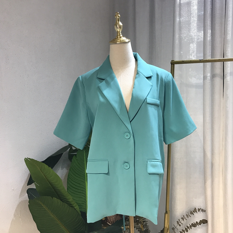 Bloggers new versatile suit collar with breathing fabric fashionable actress lace up cotton blend short sleeve suit