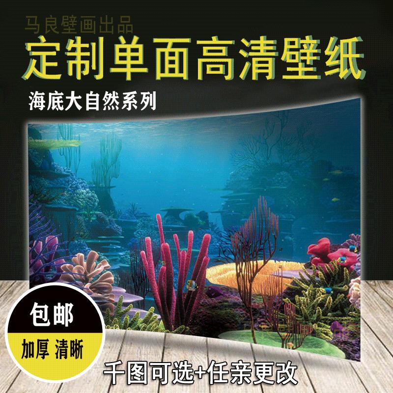 鱼缸背景纸画高清图3d立体鱼缸壁纸背景画定制鱼缸贴纸水草海底