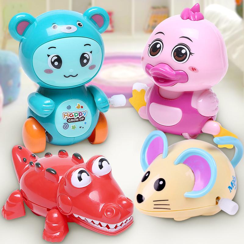 卡通发条玩具会动会跑的上链玩具1-2-3岁宝宝上弦动物学爬小玩具