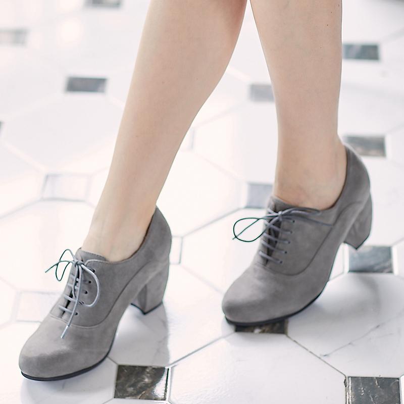Hot selling Wayne deerskin spring and summer retro professional high heel thick heel single shoes medium heel lace up work shoes female pf17-3