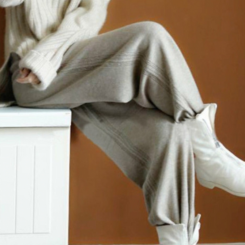 Love this soft waxy and comfortable cashmere pants! Apricot camel outside pure cashmere trousers wide leg pants