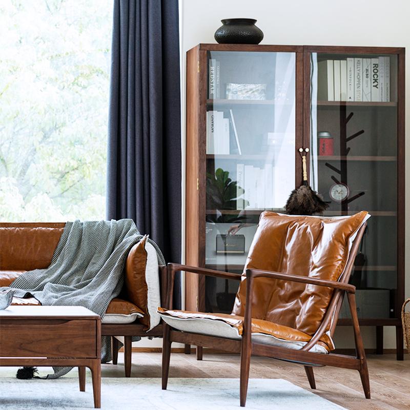 那刻简约现代单人扶手椅黑胡桃木头层牛皮休闲椅北欧舒适沙发椅