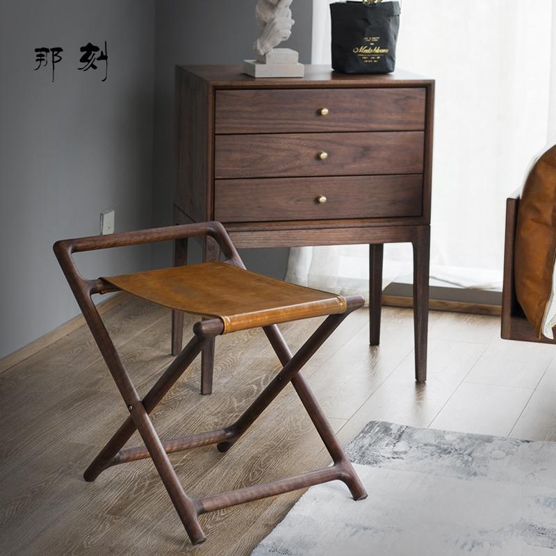 那刻 小马扎凳便携黑胡桃木折叠凳实木凳子北欧头层牛皮家用椅