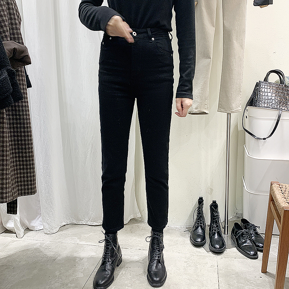 Goddess of the same autumn and winter high waist straight jeans womens Capris Korean net red new thin pipe Plush