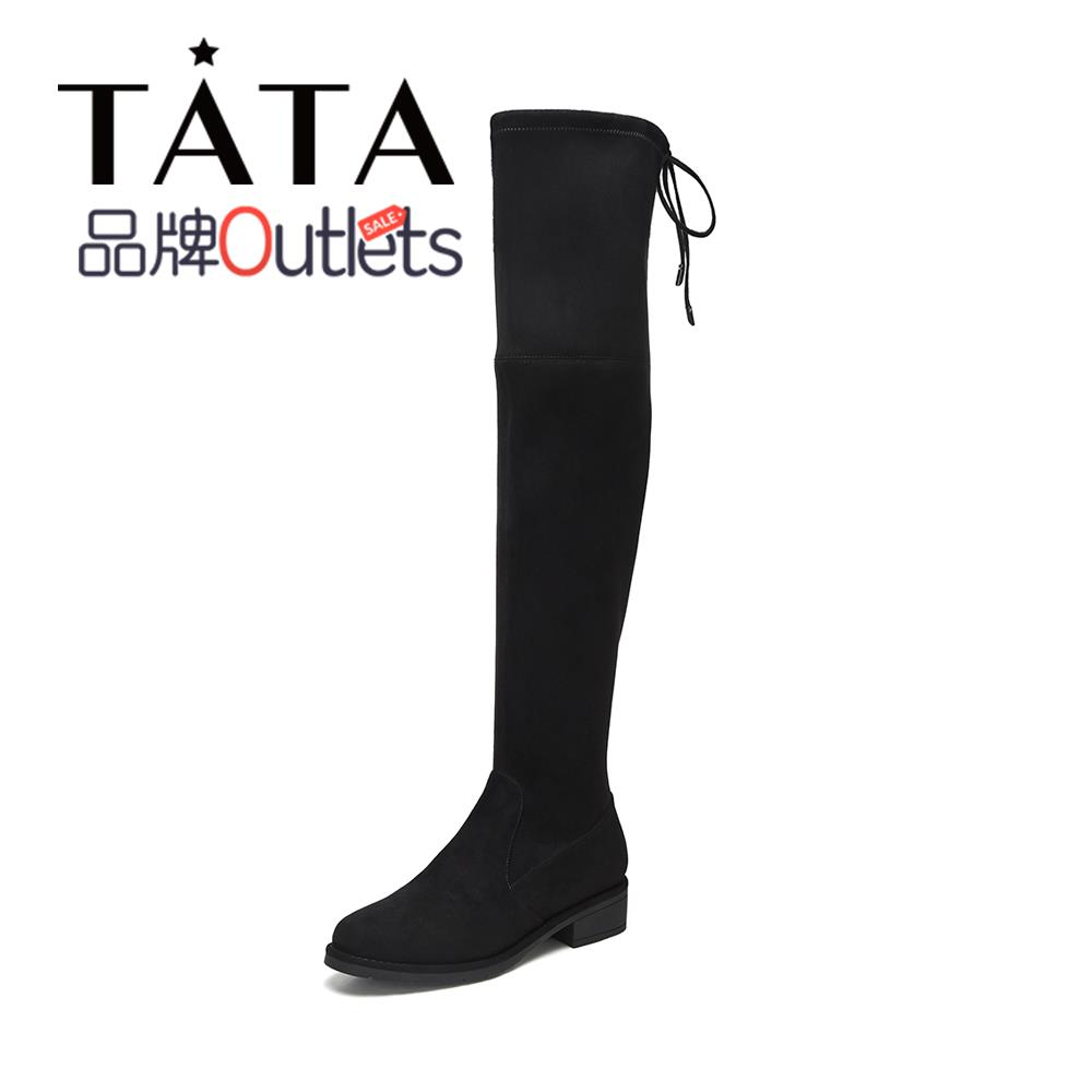 Clearance Special Sale Tata/He She Winter Counter Same Style Over-the-knee Boots High Square Heel Women's Boots WDA02DC9O