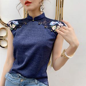 旗袍上衣女夏短袖唐装中式盘扣中国风女装刺绣复古民族风