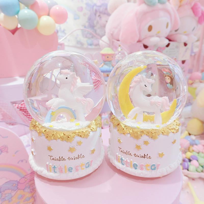 正品保证梦幻彩虹月亮独角兽水晶球少女心软妹生日礼物可爱桌面摆件音乐盒